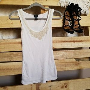 Cream tank with detail